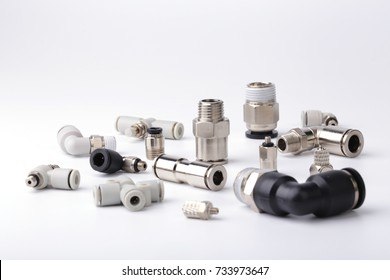 Pneumatic fittings accessories isolated on white background.