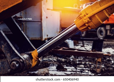 Pneumatic piston for machinery technology. Concept machine for lifting the load and hydraulic forces.