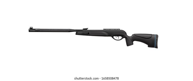 Pneumatic rifle isolated on white background.  Modern air rifle on a white back. Sports weapon for accurate shooting.