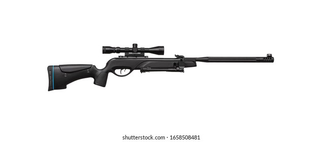 Pneumatic rifle with a telescopic sight. Modern air rifle on a bipod isolate on a white background. Sports weapon for accurate shooting.