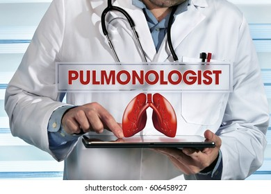 pneumologist holding tablet pc in the clinic with text pulmonologist / pulmonologist working with tablet in hands in the lab with text pulmonologist