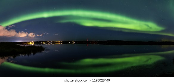 Pnoramic northern light in Oulu, Finland