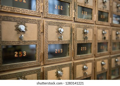 PO boxes an a post office that uses a combination to unlock the po boxes.