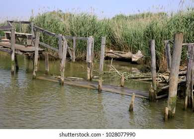 Po river (FE),  Italy - April 30, 2017: Typical scenery near Po river, Delta Regional Park, Emilia Romagna, Italy