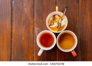 Poached Egg  With a Mug of Tea and Coffee, Healthy breakfast with cup of tea and coffee and poached egg