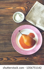 Poached pear with cream cheese