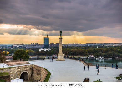 "Pobednik monument courtyard, Belgrade (Pobednik means ""the Victor"" in Serbian)"