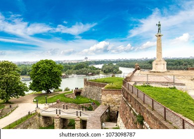 The Pobednik monument and fortress Kalemegdan in Belgrade, Serbia in a beautiful summer day