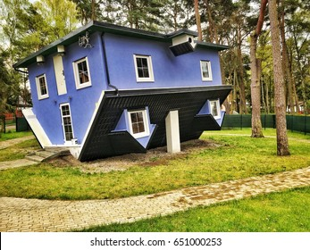 Pobierowo, Poland - May 11, 2017: Upside down house in Pobierowo village over Baltic Sea in Poland