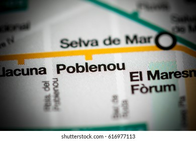 Poblenou Station. Barcelona Metro map.