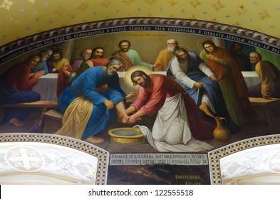 POCHAEV, UKRAINE - OKTOBER 05: In Barbara Church in Pochayiv Lavra very well preserved frescoes on October 05, 2012 in Pochaev, Ukraine. On photo - mural depicting Christ washing the disciples' feet