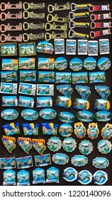 Pocitelj, Bosnia and Herzegovina, July 28, 2018: Miscellaneous Bosnian souvenirs on display.