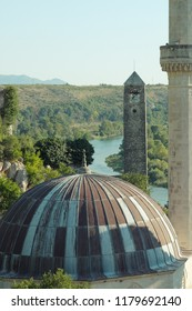 Pocitelj Old Town landscape with mosque and clock tower, Bosnia and Herzegovina