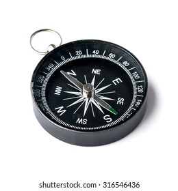 Pocket compass isolated on white background