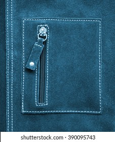 Pocket on blue leather texture can use as background
