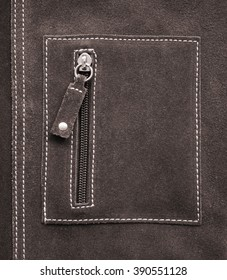 Pocket on brown leather texture can use as background