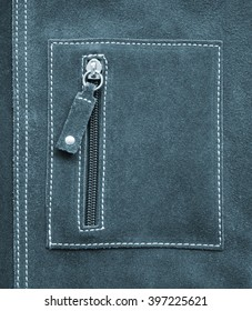Pocket on grey leather texture can use as background