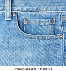 Pocket on jeans close-up