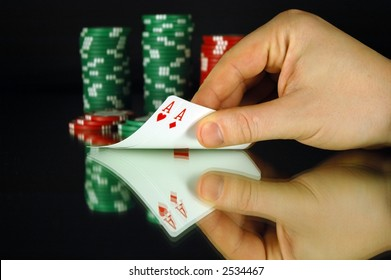 A pocket pair of aces in a game of poker