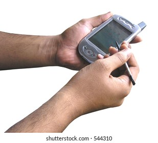 Pocket PC  with stylus held in hand