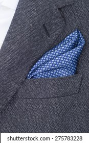 pocket square dark blue texture - handkerchief in the breast pocket of a man's suit