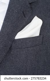 pocket square white texture - handkerchief in the breast pocket of a man's suit