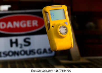 Pocket type H2S Gas detector in the gas plant isolated in air.