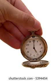 pocket watch in the arm. time concept