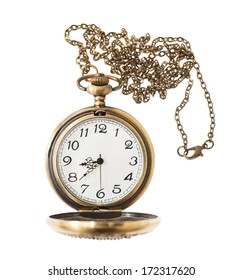 pocket watch with chai isolated on white background