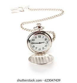pocket watch with chain isolated on white background
