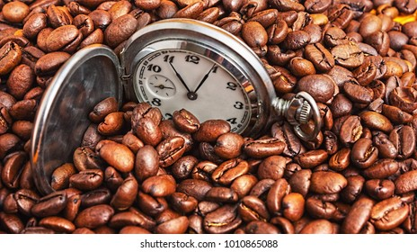 the Pocket watch in coffee beans