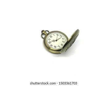 Pocket Watch gold vintage with white background.