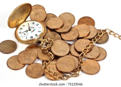 Pocket watch with old coins on a white background