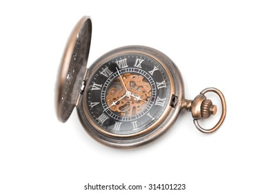 pocket watch on the white background