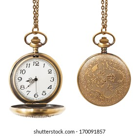 pocket watch open and closed  isolated on white background