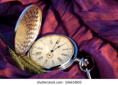 pocket watches and spikelets on the cloth background