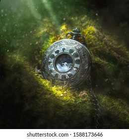 Pocketwatch in nature with lights shining down