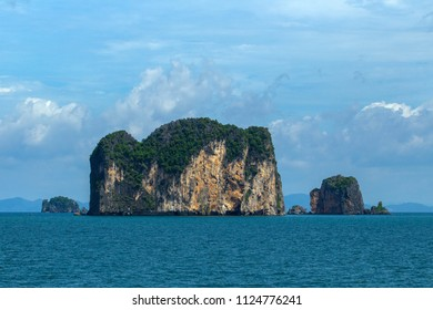 Poda Island the famous landmark seascape of thailand. sunny day with copy space