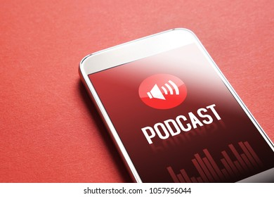 Podcast app on smartphone. Listening to sound and audio entertainment with mobile phone concept.