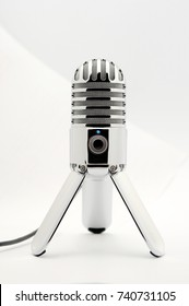 Podcast Microphone on white back