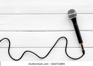 podcast record with microphone on white background top view space for text
