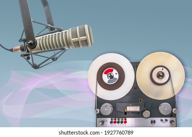 for podcasters: background with a professional microphone with an old tape recorder