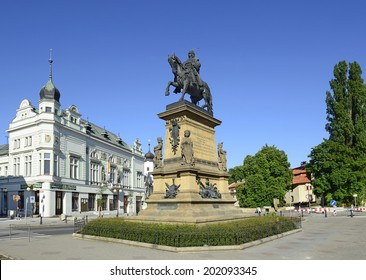 PODEBRADY, CZECH REPUBLIC - JUNE 6: The main square and a statue of George of Podiebrad was King of Bohemia on June 6, 2014. Podebrady is a historical spa town in the Central Bohemia Region.