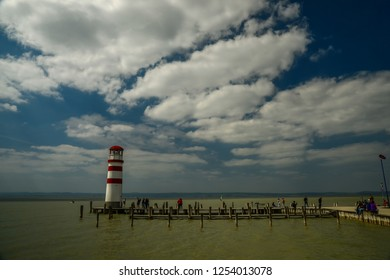 PODERSDORF/ AUSTRIA APRIL 2016 - Lighthouse in Podersdorf am See, lake Neusiedler See, Burgenland, Austria. Travelling theme.