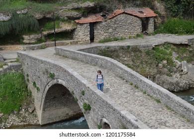 Podgorica/ Montenegro - 04 10 2016: tourists visiting the bridge during Easter hollidays