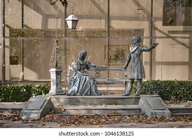 PODGORICA, MONTENEGRO - AUGUST 13, 2017: monument to Alexander Pushkin and Natalia Goncharova, gift of the city of Moscow to the city of Podgorica, Montenegro