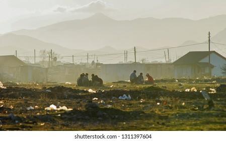 Podgorica, Montenegro - December 07 2007: Gypsy slum in Podgorica, Montenegro, town city urban settlement, poverty, garbage or junkyard near gypsy houses