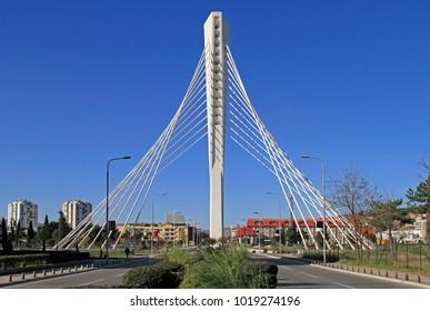 Podgorica, Montenegro - December 24, 2017 Millenium bridge in Podgorica Montenegro