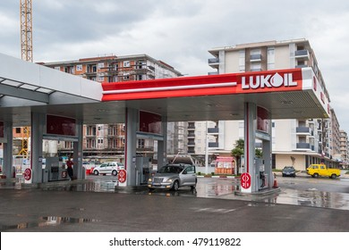 PODGORICA, MONTENEGRO - OCTOBER 16, 2015: Lukoil gas station