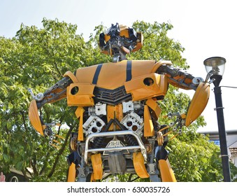 PODGORICA, MONTENEGRO-SEPTEMBER 09, 2014: A talented young artist Danilo Baletic has made several giant sized scrap metal sculptures inspired by Transformers robots
